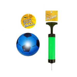 PVC Uninflated Football 22.5cm and Sports Pump Set (Random Colours)